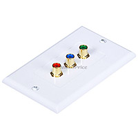 3 RCA Component Two-Piece Inset Wall Plate (RGB) - Coupler Type