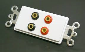 4 Gold Color Coded Banana Jack Connectors with White Insert Plate