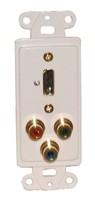 DESIGNER PLATE HDMI + COMPONENTVIDEO, SOLDERLESS - WHITE
