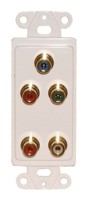 DECORATOR,RCA FEED THRU  COMPONENT VIDEO+AUDIO PLATE-WHITE