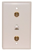 "2 Gold ""F"" (F-81) and 1 Telephone 4C RJ11 with White Wall Plate"