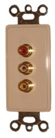 3 GOLD RCA FEED THRU PLATE-IVORY