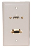 STD. WALL PLATE HDMI + VGA, SOLDERLESS - WHITE FEED THRU
