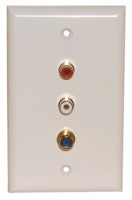 "1 GOLD ""F"" 3GHz 2 SOLDER RCA WALL PLATE WHITE"