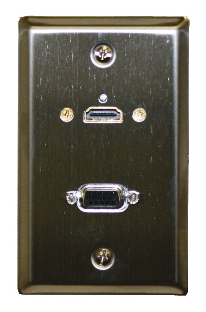 Theater-Pro Stainless Steel Wall Plate With HDMI & VGA Feed Through Jacks