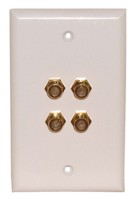 "4 GOLD ""F"" 3GHz WALL PLATE WHITE"