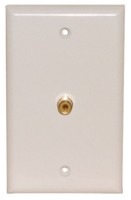 1 GOLD RCA SOLDER WALL PLATE WHITE
