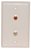 2 GOLD RCA {1R/1W} SOLDER WALL PLATE WHITE