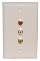 3 GOLD RCA {1R,1W,1Y} SOLDER WALL PLATE WHITE