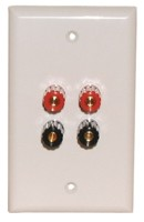 4 GOLD 5-WAY BINDIBG POST WALL PLATE WHITE