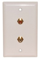 2 GOLD RCA FEED THRU WALL PLATE WHITE