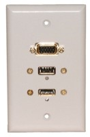 STD. WALL PLATE HDMI + VGA + USB, SOLDERLESS - WHITE FEED THRU