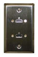 STD. WALL PLATE HDMI + USB, SOLDERLESS - STAINLESS STEEL FEED THRU