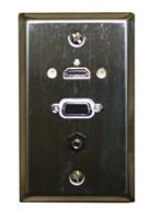 STD. WALL PLATE HDMI + VGA + 3.5MM AUDIO, SOLDERLESS-STAINLESS FEED THRU