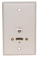 STD. WALL PLATE HDMI + CAT5E, SOLDERLESS - WHITE