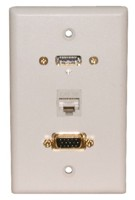 STD. WALL PLATE HDMI + VGA + CAT5E, SOLDERLESS - WHITE