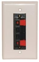 4 Heavy Duty Push-Type SPEAKER TERM. WALL PLATE WHITE