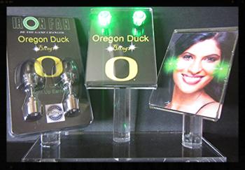 IRON FAN Green Light-Up Oregon Duck LED Earrings