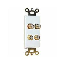2 Gold RCA Solderless Jacks and 2 Gold F-81 3GHz Solderless Connector with White Insert Plate