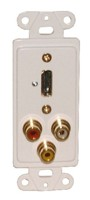 DESIGNER PLATE HDMI + AUDIO/VIDEO, SOLDERLESS - WHITE FEED THRU