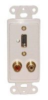 DESIGNER PLATE HDMI + AUDIO, SOLDERLESS - WHITE