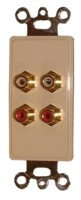 4 GOLD RCA FEED THRU PLATE-IVORY