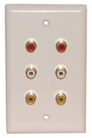 6 RCA SOLDER {2R,2W,2Y} WALL PLATE WHITE