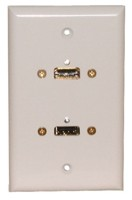 STD. WALL PLATE HDMI + USB, SOLDERLESS - WHITE FEED THRU