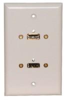 STD. WALL PLATE HDMI + USB, SOLDERLESS - WHITE FEED THRU