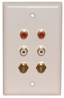 4 GOLD RCA {2W,2R} SOLDER 2 GOLD F-81 WALL PLATE WHITE