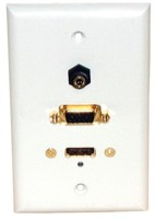 STD. WALL PLATE HDMI + VGA + 3.5MM AUDIO, SOLDERLESS - WHITE FEED THRU