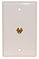 1 GOLD RCA FEED THRU WALL PLATE WHITE