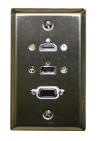STD. WALL PLATE HDMI + VGA + USB, SOLDERLESS - STAINLESS STEEL FEED THRU