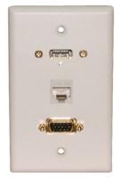 STD. WALL PLATE HDMI + VGA + CAT5E, SOLDERLESS - WHITE