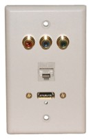 STD. WALL PLATE HDMI + COMPONENT VIDEO + CAT5E, SOLDERLESS-WHITE