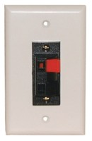 2 Heavy Duty Push-Type SPEAKER TERM. WALL PLATE WHITE