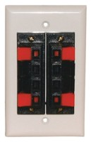 8 Heavy Duty Push-Type SPEAKER TERM.WALL PLATE WHITE