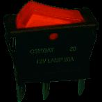 Lighted Rocker, SPST 15A @125V, Lamp 12V, Red